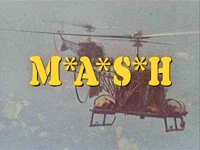 The title screen and opening credits of MASH featured a pair of H-13 medical evacuation helicopters transporting wounded soldiers from the battlefield to the surgical hospital. Note the wounded soldiers on the litters placed on sponsons above each landing skid.